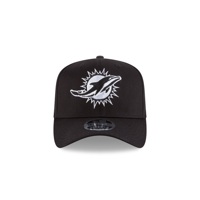 MIAMI DOLPHINS BLACK AND WHITE STRETCH SNAP 9FIFTY SNAPBACK Front view