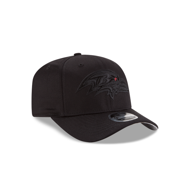 BALTIMORE RAVENS BLACK ON BLACK STRETCH SNAP 9FIFTY SNAPBACK 3 quarter right view