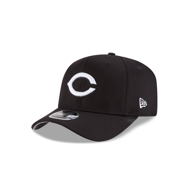 sale retailer 9064b ef160 CINCINNATI REDS BLACK AND WHITE STRETCH SNAP 9FIFTY SNAPBACK 3 quarter left  view