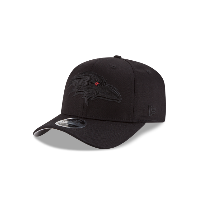 BALTIMORE RAVENS BLACK ON BLACK STRETCH SNAP 9FIFTY SNAPBACK 3 quarter left view