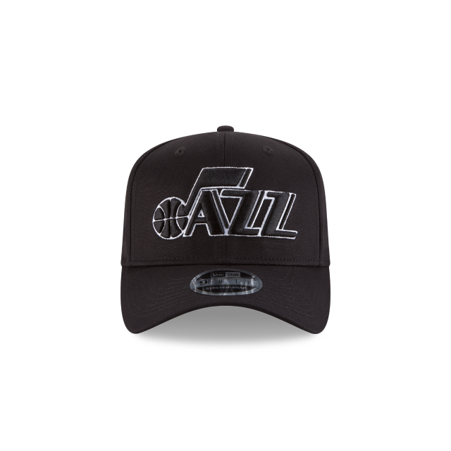 UTAH JAZZ BLACK AND WHITE STRETCH SNAP 9FIFTY SNAPBACK Front view
