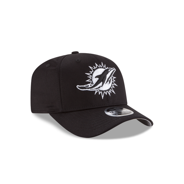MIAMI DOLPHINS BLACK AND WHITE STRETCH SNAP 9FIFTY SNAPBACK 3 quarter right view