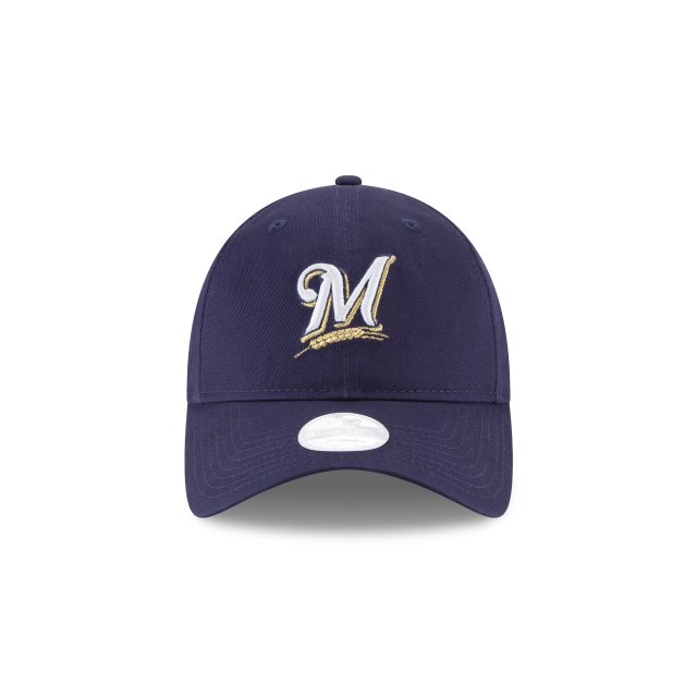MILWAUKEE BREWERS WOMENS POSTSEASON SIDE PATCH 9TWENTY ADJUSTABLE Front view