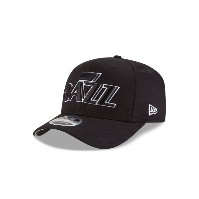 UTAH JAZZ BLACK AND WHITE STRETCH SNAP 9FIFTY SNAPBACK 3 quarter left view