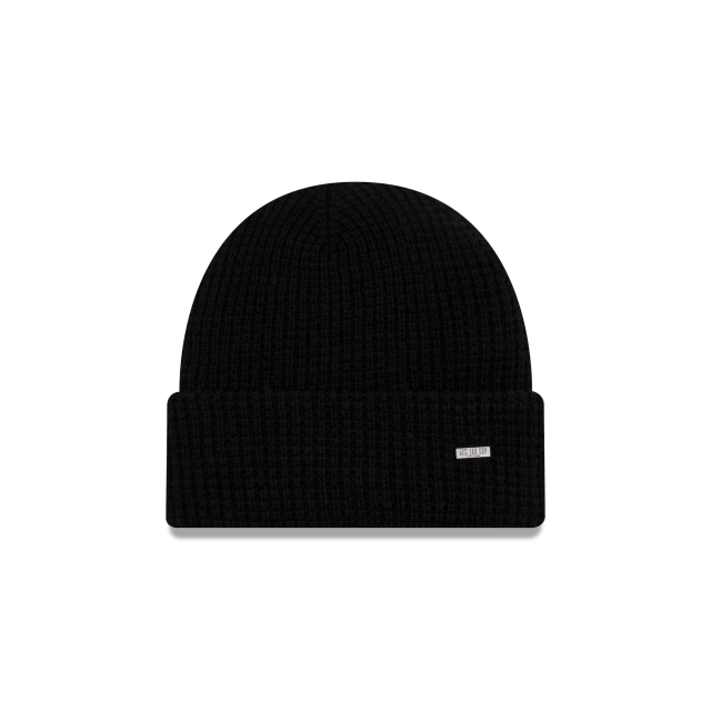 WAFFLE BLACK KNIT CUFF BEANIE Front view