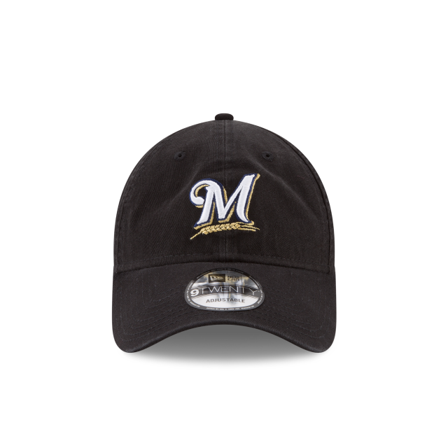 MILWAUKEE BREWERS CORE CLASSIC BLACK 9TWENTY ADJUSTABLE Front view