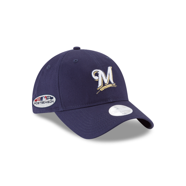 MILWAUKEE BREWERS WOMENS POSTSEASON SIDE PATCH 9TWENTY ADJUSTABLE 3 quarter right view