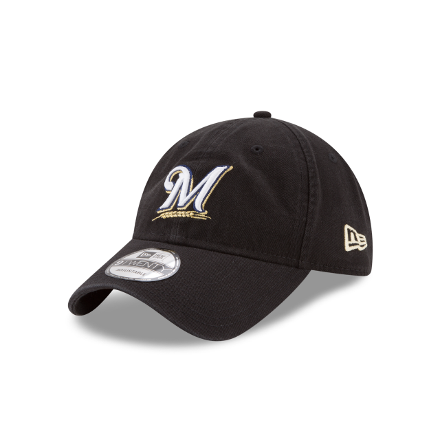 MILWAUKEE BREWERS CORE CLASSIC BLACK 9TWENTY ADJUSTABLE 3 quarter left view