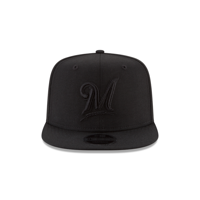 MILWAUKEE BREWERS BLACK ON BLACK HIGH CROWN 9FIFTY SNAPBACK Front view