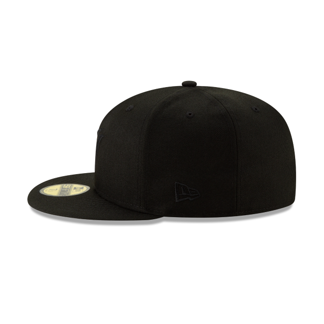 MIAMI MARLINS 2019 BLACKOUT BASIC 59FIFTY FITTED Left side view