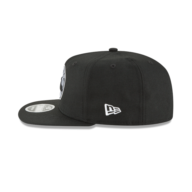 PHILADELPHIA 76ERS BLACK AND WHITE HIGH CROWN 9FIFTY SNAPBACK Left side view