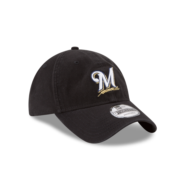 MILWAUKEE BREWERS CORE CLASSIC BLACK 9TWENTY ADJUSTABLE 3 quarter right view