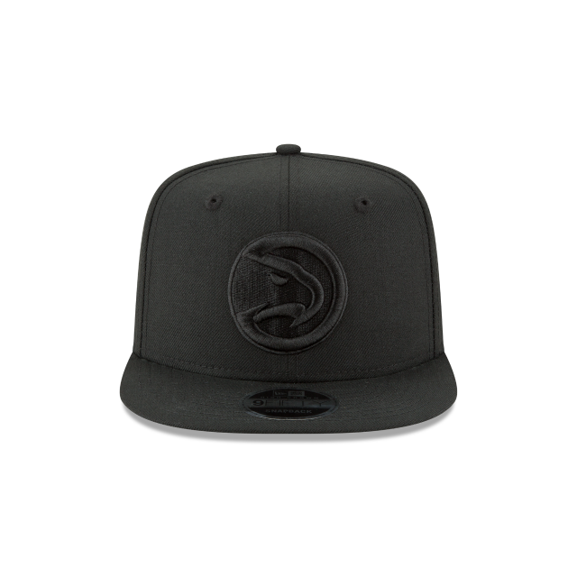 ATLANTA HAWKS BLACK ON BLACK HIGH CROWN 9FIFTY SNAPBACK Front view
