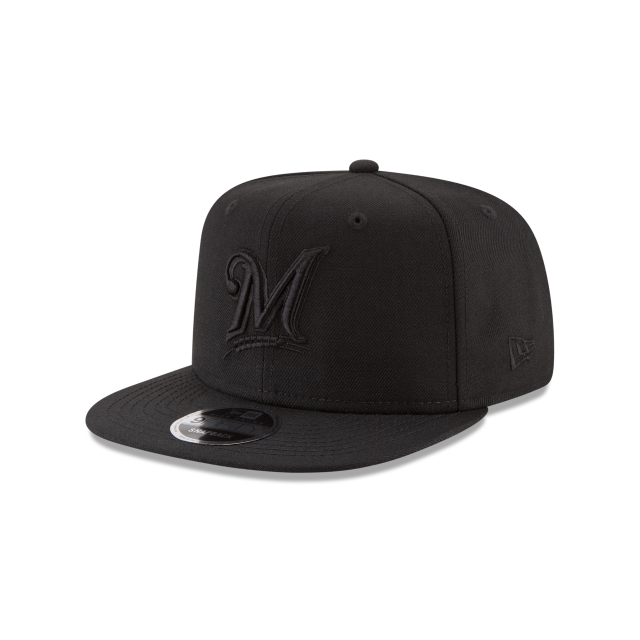 MILWAUKEE BREWERS BLACK ON BLACK HIGH CROWN 9FIFTY SNAPBACK 3 quarter left view