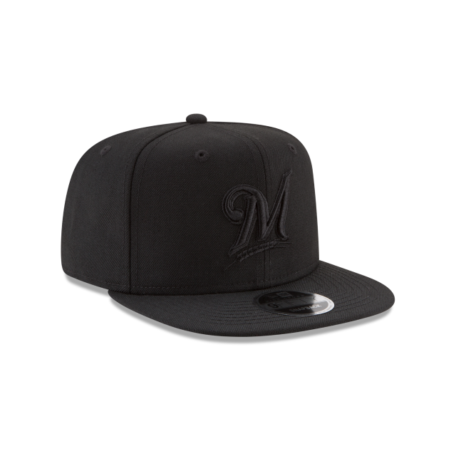 MILWAUKEE BREWERS BLACK ON BLACK HIGH CROWN 9FIFTY SNAPBACK 3 quarter right view