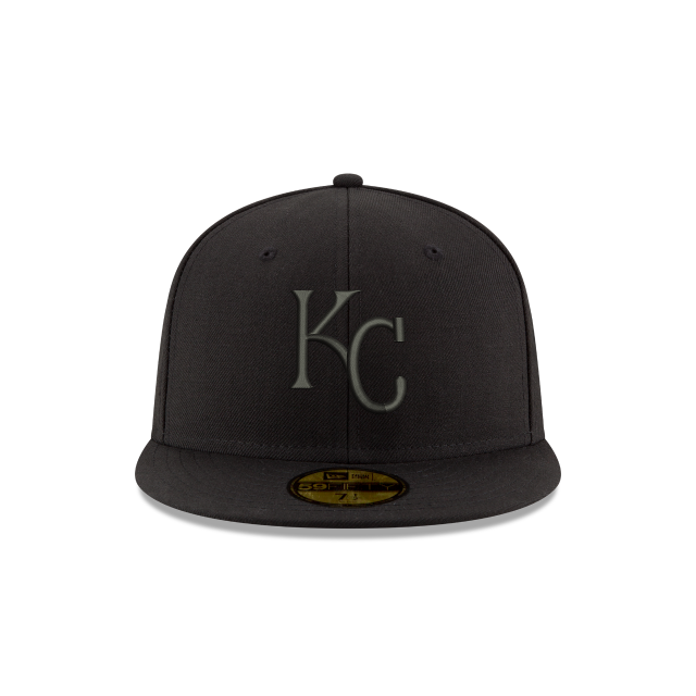 KANSAS CITY ROYALS MLB BLACK ON BLACK 59FIFTY FITTED Front view
