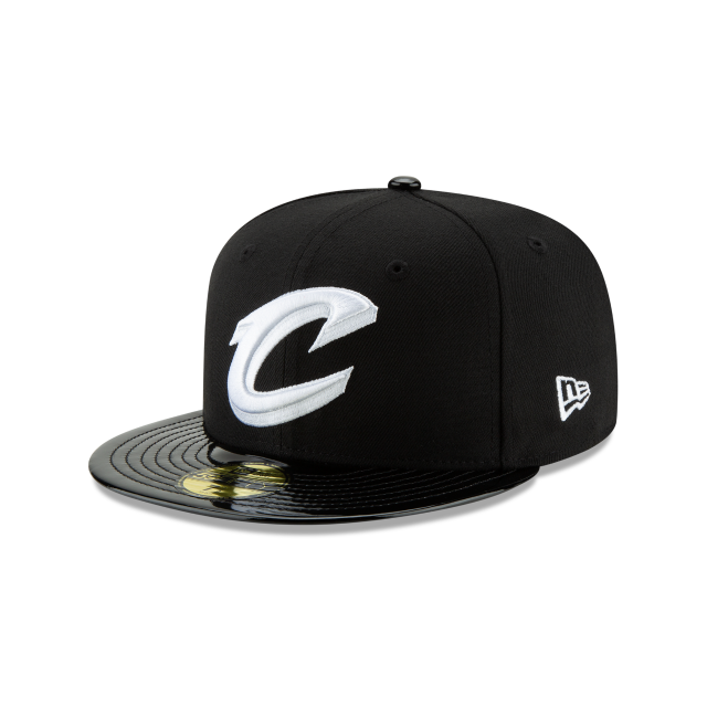 CLEVELAND CAVALIERS BLACK RETRO HOOK 59FIFTY FITTED 3 quarter left view
