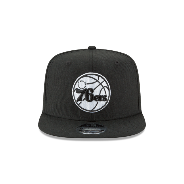 PHILADELPHIA 76ERS BLACK AND WHITE HIGH CROWN 9FIFTY SNAPBACK Front view