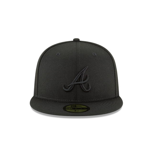 79b8392107d ATLANTA BRAVES BLACKOUT BASIC 59FIFTY FITTED Front view