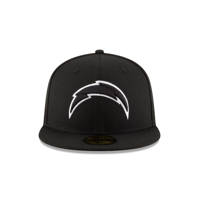 new product f5131 965f6 ... italy los angeles chargers black white 59fifty fitted front view 136a2  4ee7c