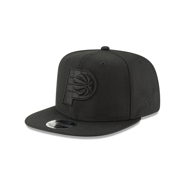 INDIANA PACERS BLACK ON BLACK HIGH CROWN 9FIFTY SNAPBACK 3 quarter left view