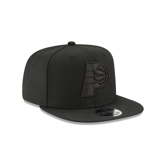 INDIANA PACERS BLACK ON BLACK HIGH CROWN 9FIFTY SNAPBACK 3 quarter right view
