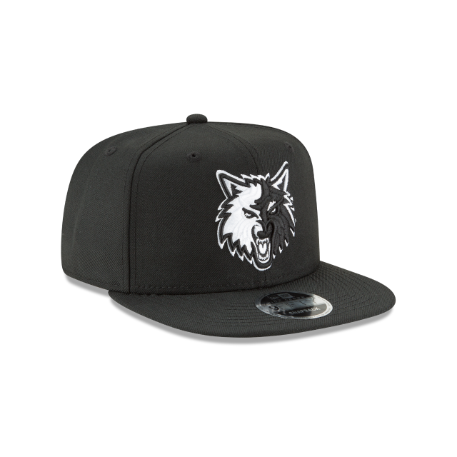 MINNESOTA TIMBERWOLVES BLACK AND WHITE HIGH CROWN 9FIFTY SNAPBACK 3 quarter right view