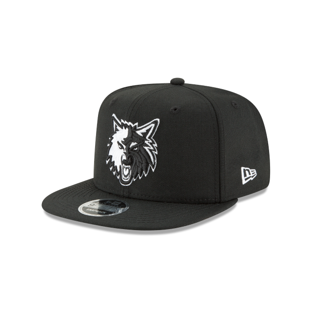 MINNESOTA TIMBERWOLVES BLACK AND WHITE HIGH CROWN 9FIFTY SNAPBACK 3 quarter left view