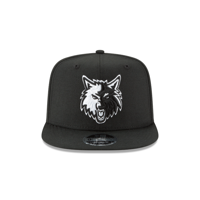 MINNESOTA TIMBERWOLVES BLACK AND WHITE HIGH CROWN 9FIFTY SNAPBACK Front view