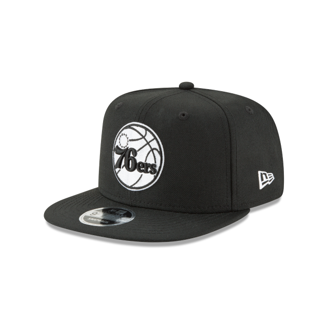 PHILADELPHIA 76ERS BLACK AND WHITE HIGH CROWN 9FIFTY SNAPBACK 3 quarter left view