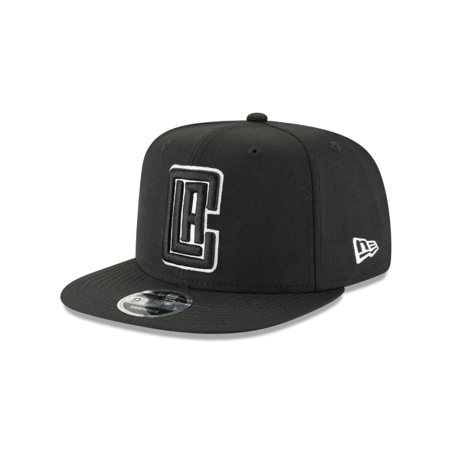 LOS ANGELES CLIPPERS BLACK AND WHITE HIGH CROWN 9FIFTY SNAPBACK 3 quarter left view