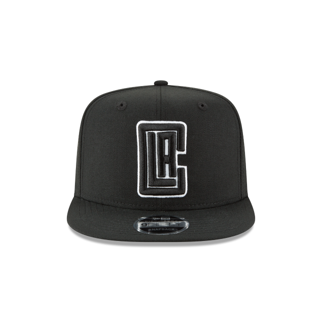 LOS ANGELES CLIPPERS BLACK AND WHITE HIGH CROWN 9FIFTY SNAPBACK Front view