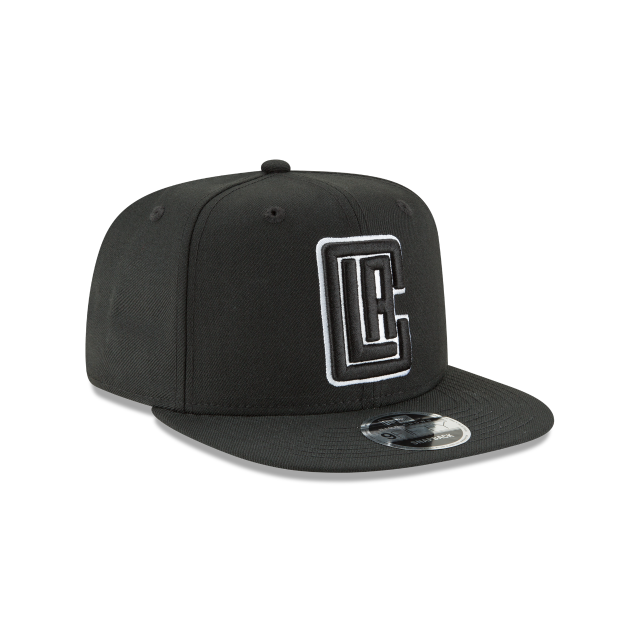 LOS ANGELES CLIPPERS BLACK AND WHITE HIGH CROWN 9FIFTY SNAPBACK 3 quarter right view