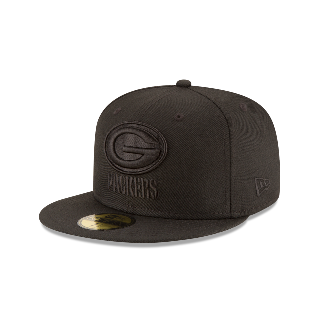 GREEN BAY PACKERS BLACK ON BLACK 59FIFTY FITTED 3 quarter left view
