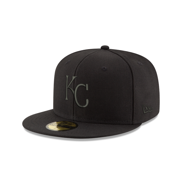 KANSAS CITY ROYALS MLB BLACK ON BLACK 59FIFTY FITTED 3 quarter left view