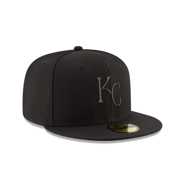 KANSAS CITY ROYALS MLB BLACK ON BLACK 59FIFTY FITTED 3 quarter right view
