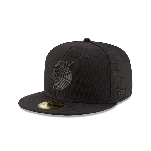 PORTLAND TRAILBLAZERS BLACK ON BLACK 59FIFTY FITTED 3 quarter left view