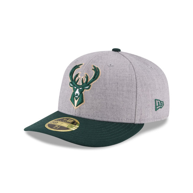MILWAUKEE BUCKS HEATHER LOW PROFILE 59FIFTY FITTED 3 quarter left view