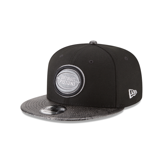 DETROIT PISTONS SNAKESKIN BLACK 9FIFTY SNAPBACK 3 quarter left view