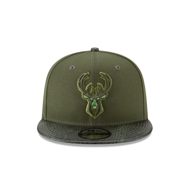 MILWAUKEE BUCKS SNAKESKIN GREEN 9FIFTY SNAPBACK Front view