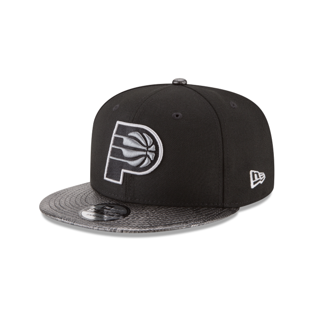 INDIANA PACERS SNAKESKIN BLACK 9FIFTY SNAPBACK 3 quarter left view