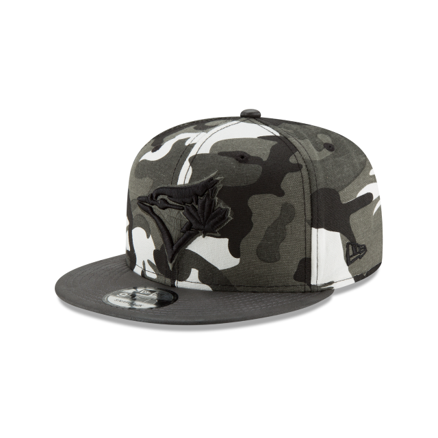 5810001e89b TORONTO BLUE JAYS SUEDED UP CAMO 9FIFTY SNAPBACK 3 quarter left view