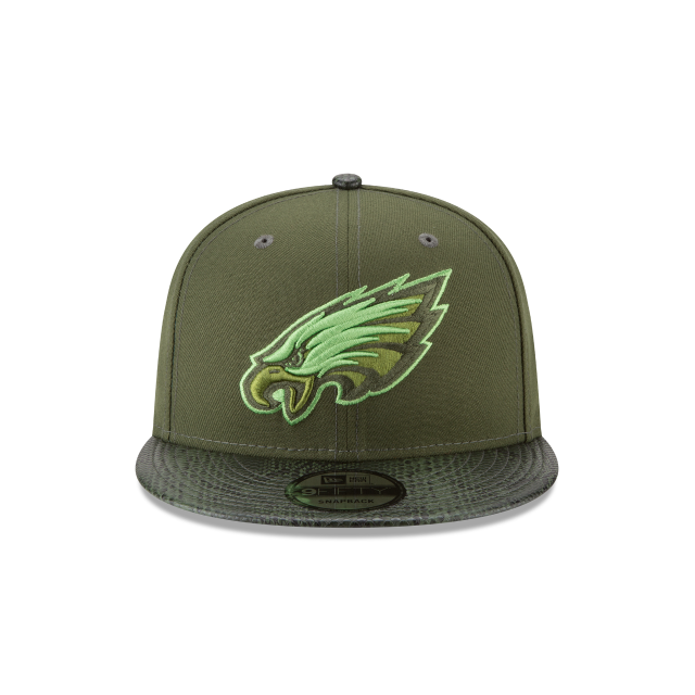 PHILADELPHIA EAGLES SNAKESKIN GREEN 9FIFTY SNAPBACK Front view
