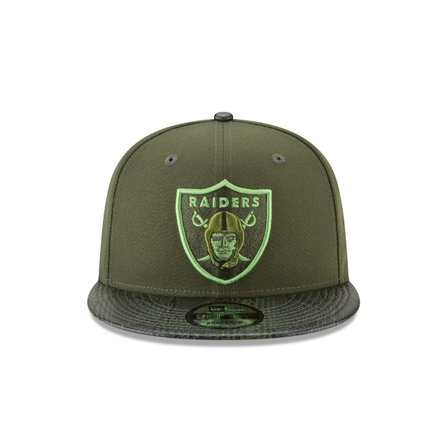 OAKLAND RAIDERS SNAKESKIN GREEN 9FIFTY SNAPBACK Front view