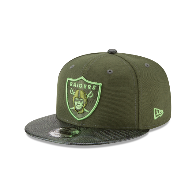 OAKLAND RAIDERS SNAKESKIN GREEN 9FIFTY SNAPBACK 3 quarter left view