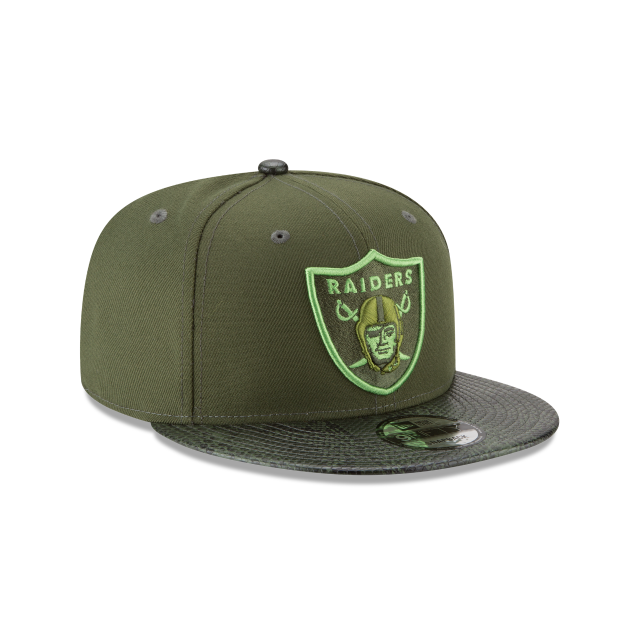 OAKLAND RAIDERS SNAKESKIN GREEN 9FIFTY SNAPBACK 3 quarter right view