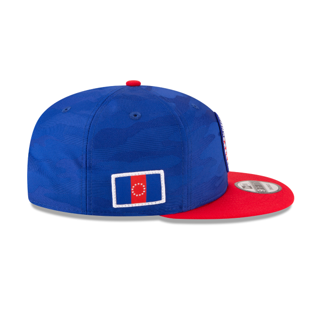 PHILADELPHIA 76ERS 2018 NBA AUTHENTICS: TIP OFF SERIES TWO-TONE 9FIFTY SNAPBACK Right side view