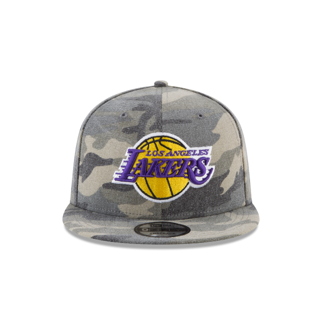 b16b6e000d4 LOS ANGELES LAKERS CANVAS CAMO 9FIFTY SNAPBACK Front view. LOS ANGELES  LAKERS CANVAS CAMO 9FIFTY SNAPBACK 3 quarter right view