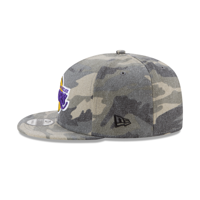 36e0680b306 LOS ANGELES LAKERS CANVAS CAMO 9FIFTY SNAPBACK Left side view