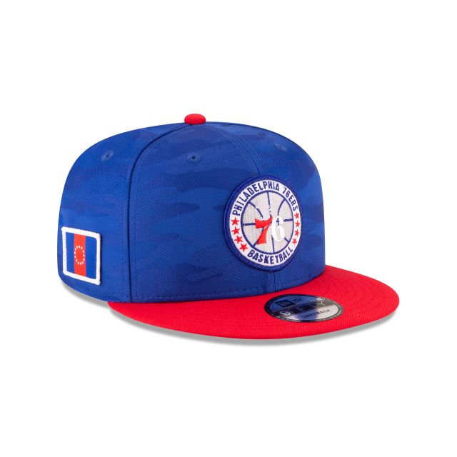 PHILADELPHIA 76ERS 2018 NBA AUTHENTICS: TIP OFF SERIES TWO-TONE 9FIFTY SNAPBACK 3 quarter right view
